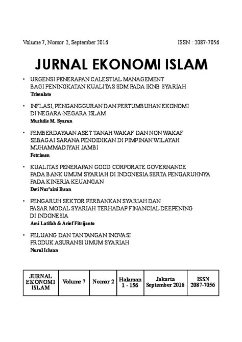 (PDF) Jurnal EKONOMI ISLAM Vol 7 (2) September 2016 | Dr M