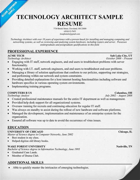 Technical Architect Resume by Bittorrentplus Technical Architect Resume Exle
