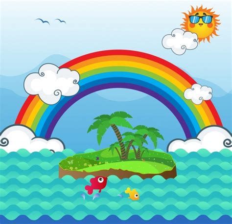 pemandangan alam latar belakang pelangi pulau matahari