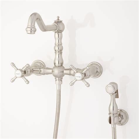 delilah wall mount faucet  side spray cross handles