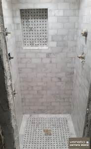 Marble Hexagon Floor Tile Bathroom by Carrara Venato Shower With 3x6 Quot Tile And Dogbone