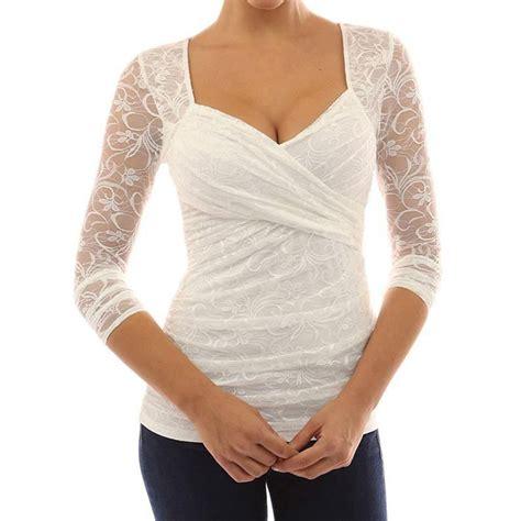 blouse vs shirt 39 s sleeve lace v neck top ruffled blouse