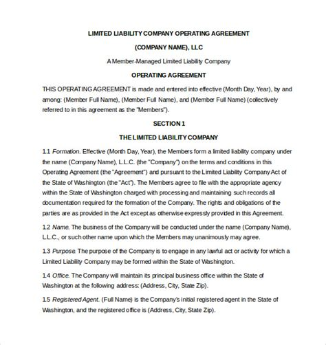 13 operating agreement templates word apple pages docs free premium templates