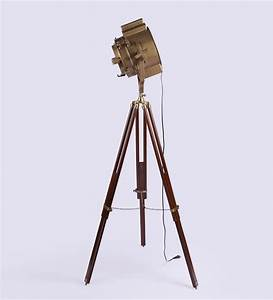 vintage wooden tripod brass floor lamp antikcart With wooden tripod floor lamp the range