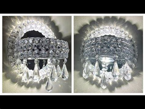 diy dollar tree glam crystal wall sconces elegant lighted mirrored wall sconces youtube
