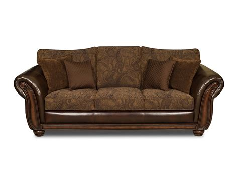 simmons vintage leather tobbaco fabric queen size sofa sleeper