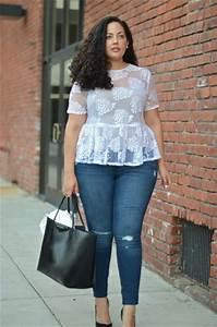 Jeans blue jeans peplum top plus size jeans curvy blogger plus size - Wheretoget