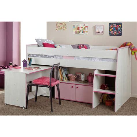 combine lit bureau lit combiné surélevé avec bureau et rangement intégrés 1