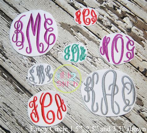 fancy circle small machine embroidery monogram font larger etsy