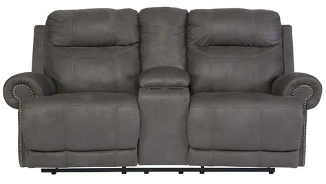 gray reclining loveseat austere gray reclining loveseat with console from