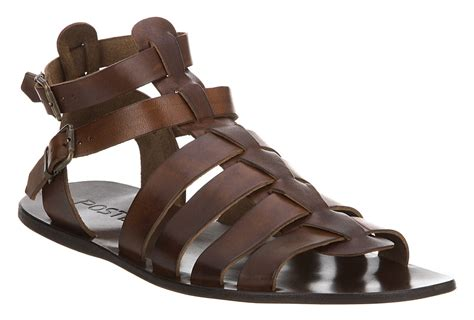 Mens Poste Gladiator Sandal Choc Brown Leather Sandals