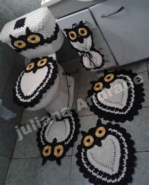 crochet owl bath sets owl bathroom set crochet house decor ideas