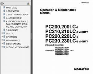 Komatsu Pc200  210  220  230  240  250 Lc