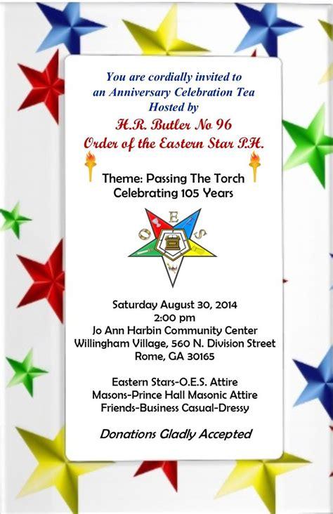 oes anniversary tea invitation eastern star stars