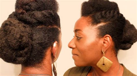 natural hair quick updo with marley braiding hair