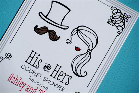 his and hers designs his and hers illustrated wedding couples shower invites