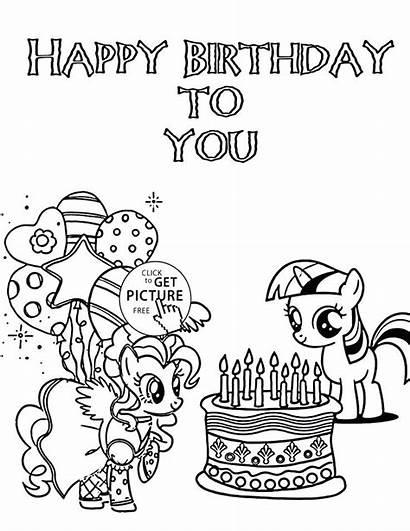 Coloring Birthday Happy Pony Pages Printable Fun