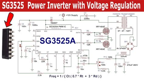 56 sg3525 pwm inverter circuit pwm inverter circuit sg3525 power inverter circuit with voltage regulation complete video tutorial youtube