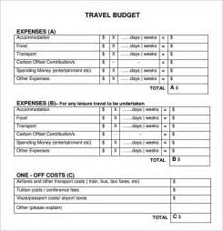 Travel Expense Sheet Template Sle Travel Budget Template 6 Free Documents In Pdf