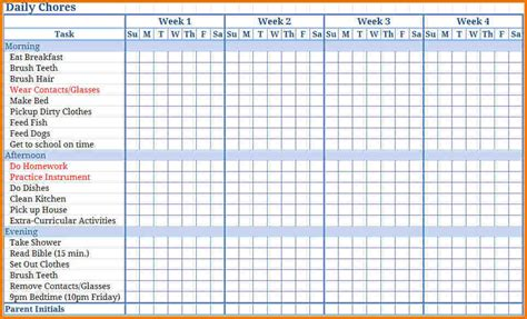 free chore chart template free printable chore chart templates authorization letter pdf