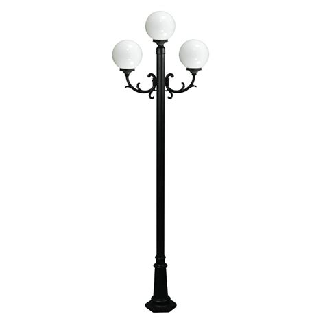 120v powder coated cast aluminum 3 l globe light post