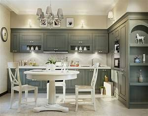 Grey traditional kitchen interior design ideas for Kitchen colors with white cabinets with set of three metal wall art