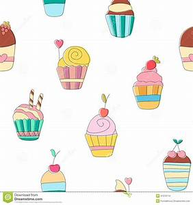 Cute Funny Seamless Pattern With Cartoon Sweet Cupcakes ...