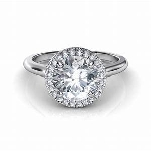 Plain shank floating halo diamond engagement ring for Halo engagement rings with wedding bands
