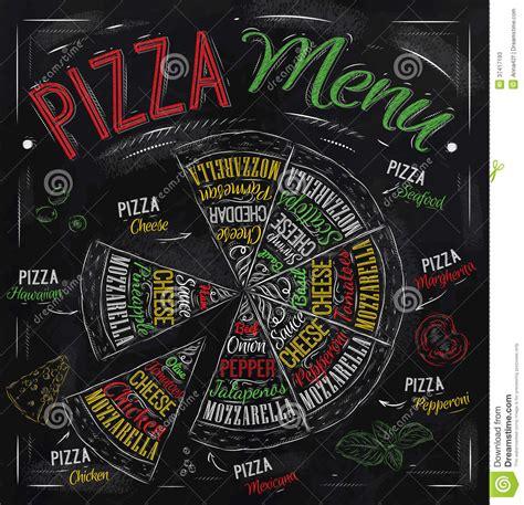 pizza menu drawing  color chalk stock  image