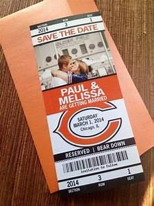 Dinner Ticket Design Chicago Bears Football Save The Date Ticket Or
