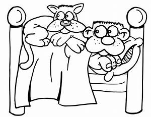 animal cat in bed coloring pages kentscraft With cat 5 a or b