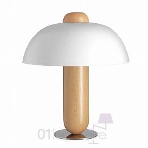 Lampe à Clipser : lampe poser clochette en bois v ritable abat jour blanc kos lighting ~ Teatrodelosmanantiales.com Idées de Décoration