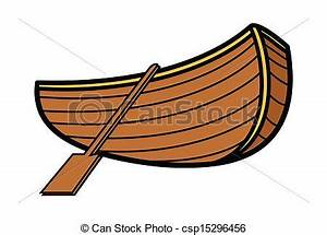 Clipart Vector of Old Vintage Wooden Boat - Vector