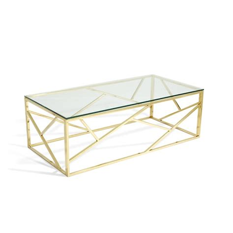 gold base coffee table betty glass coffee table in clear with gold base frame