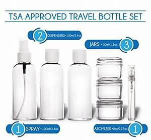 Produit Liquide Avion : travando trousse de toilette transparente 7 bouteilles pots contenants pour liquides kit ~ Melissatoandfro.com Idées de Décoration