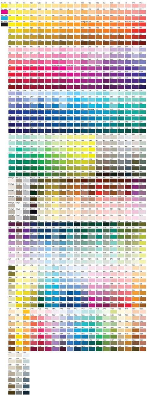 pantone color chart paint palettes pms color chart and