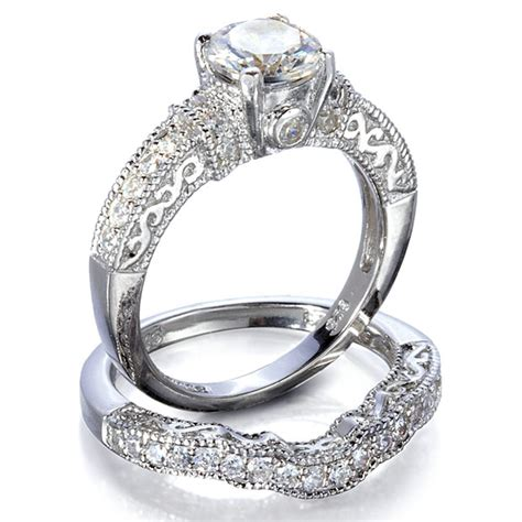 wedding rings synthetic diamonds with vintage style