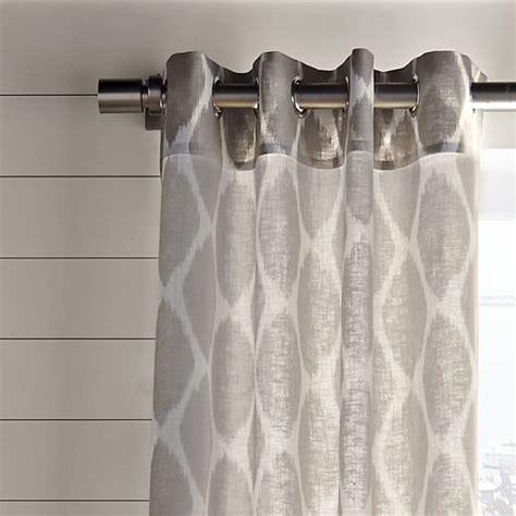 west elm linen curtains ikat ogee linen curtain ivory platinum west elm