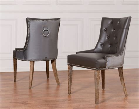 Gray Velvet Dining Chairs by Tov Furniture Uptown Grey Leather Velvet Dining Chair Upt