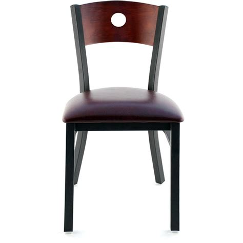 interchangeable back metal restaurant chair with a circled