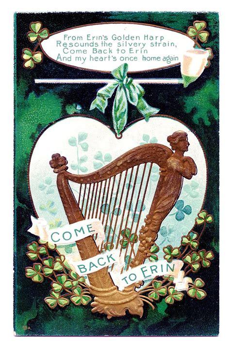 vintage st patricks day clip art golden harp