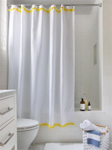 easy ways  upcycle  plain shower curtain hgtv