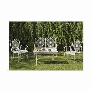 Salon De Jardin Acier : salon de jardin acier forg blanc 1 canap 2 fauteuils 1 table basse rectangulaire l100 100 ~ Teatrodelosmanantiales.com Idées de Décoration