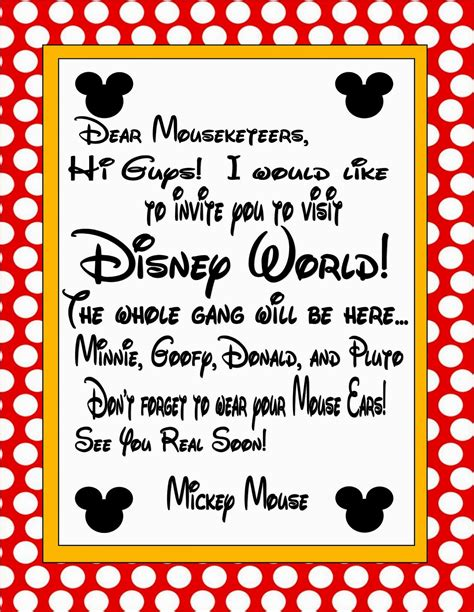 letter from mickey mouse template two magical invitation to disney world