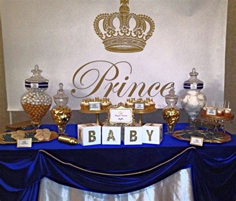 royal prince baby shower white baby showers blue gold