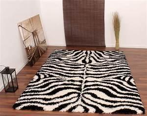 Teppich Hochflor Shaggy Muster Zebra Schwarz Weiss Wohn