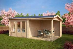 gartenhaus mit terrasse nora d 9m2 44mm 3x6 With gartenhaus mit terrasse