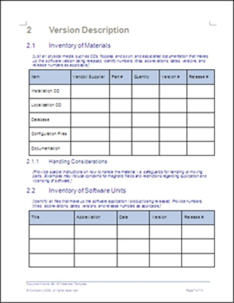 bill  materials template ms wordexcel