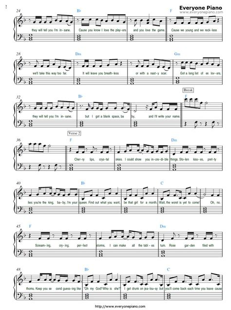 blank space taylor swift stave preview  piano sheet