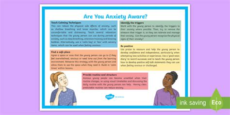 Are You Anxiety Aware? Adult Guidance A4 Display Poster Send